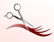 Scissors Cutting Hair Strand. Scissors are cutting a strand of flowing hair and the background is pink Stock Photos