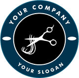 Scissors Cutting Hair Strand, Hair Solon Logo