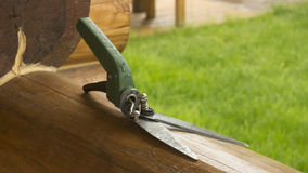 Scissors for cutting the lawn with a green. Pen Royalty Free Stock Photos
