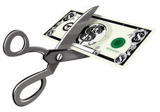 Scissors cutting money Stock Photography