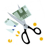 Scissors cutting money - concept of budget cuts Stock Images