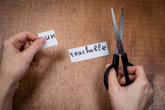 Scissors cutting negative label, self motivation concept Stock Image