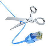Scissors cutting the network cable Stock Photo