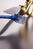Scissors cutting network cable Royalty Free Stock Photo