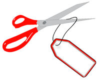 Scissors cutting off tag Royalty Free Stock Photo