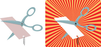 Scissors cutting a price tag Royalty Free Stock Photos