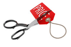 Scissors cutting price tag. 3D illustration. Stock Image