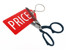 Scissors cutting price tag. 3D illustration. Stock Photos