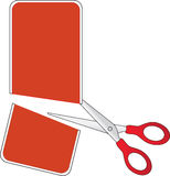 Scissors cutting red price tag Stock Photo