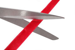 Scissors Cutting Red Ribbon Royalty Free Stock Image