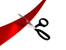 Scissors cutting a red ribbon. Black handled scissors cutting a red ribbon Royalty Free Stock Images