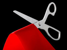 Scissors cutting ribbon Royalty Free Stock Photos