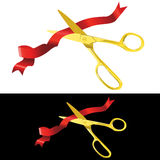 Scissors cutting a ribbon Stock Photo
