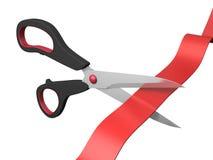 Scissors cutting ribbon Stock Images