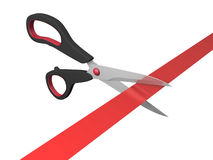 Scissors cutting ribbon Stock Photo