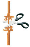 Scissors cutting rope Stock Image