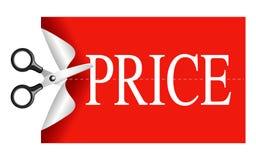 Scissors cutting sticker price Stock Photography