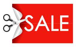 Scissors cutting sticker sale Stock Photos