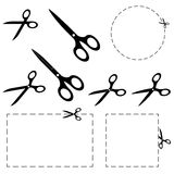 Scissors with dashed line Royalty Free Stock Photo