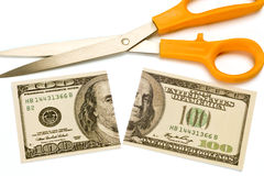 Scissors and Divided Benjamin Royalty Free Stock Images