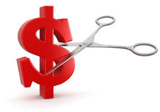 Scissors and dollar (clipping path included) Stock Photo