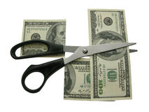 Scissors and  dollars. Stock Images