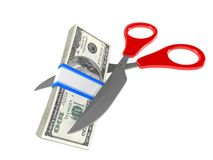 Scissors with dollars vector illustration