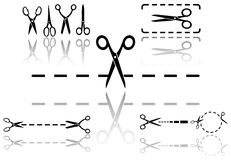 Scissors and dotted line set with reflection Royalty Free Stock Images