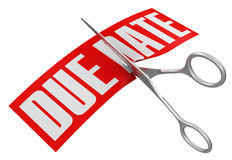 Scissors and due date (clipping path included) Royalty Free Stock Images