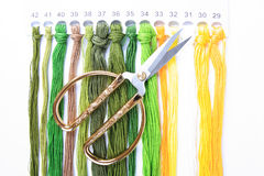 Scissors and embroidery threads. With white background stock photo