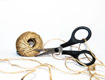 Twine and scissors royalty free stock photos