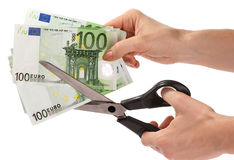 Scissors and euro. Scissors snip off euro. Isolated Royalty Free Stock Image