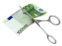 Scissors and euro (clipping path included) Royalty Free Stock Images