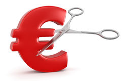 Scissors and euro (clipping path included) Royalty Free Stock Photography