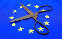 Scissors euro flag. Eu, europe Royalty Free Stock Images