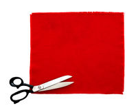 Scissors and fabric swatch, isolated Royalty Free Stock Photo
