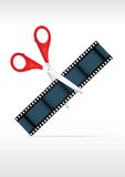 Scissors and film strip. Video editing Royalty Free Stock Photo