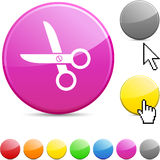 Scissors glossy button. Stock Images