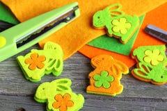 Scissors, glue , sheets of felt, decorative  with miniature bunn Stock Photography