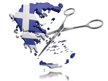 Scissors and Greece (clipping path included) Royalty Free Stock Images