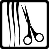 Scissors and hair, barbershop icon Royalty Free Stock Photography