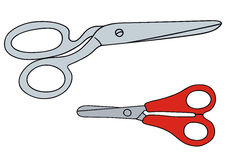 Scissors. Hand drawing of big and little scissors Royalty Free Stock Image
