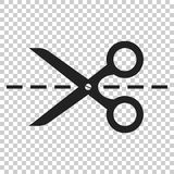 Scissors icon with cut line. Scissor vector illustration.  vector illustration