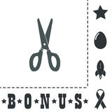 Scissors icon, sign and button. Scissors. Simple flat symbol icon on white background. Vector illustration pictogram and bonus icons Stock Images