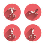 Scissors icons. Hairdresser or barbershop symbol Stock Image