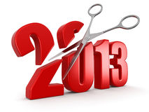 Scissors and 2013. Image with clipping path Royalty Free Stock Photo