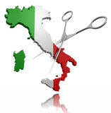 Scissors and Italy (clipping path included) Royalty Free Stock Image