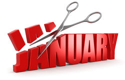 Scissors and january (clipping path included) Stock Image