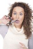 scissors kvinnabarn Arkivbilder