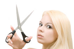 scissors kvinnan Arkivfoto
